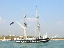"Portsmouth, ""TS Royalist"" Sail Training Ship, sailing into harbour, Hampshire © Mark Pilbeam"